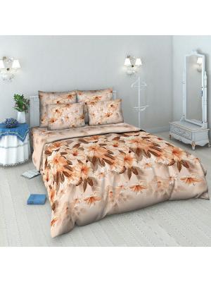 Комплект постельного белья из бязи 2 спальный Василиса. Цвет: оранжевый