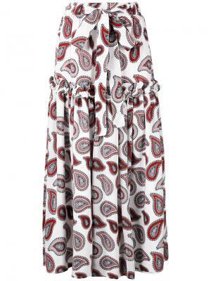 Длинная юбка с принтом пейсли Dodo Bar Or. Цвет: белый