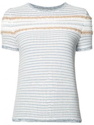 Полосатый джемпер с короткими рукавами Maison Ullens. Цвет: белый