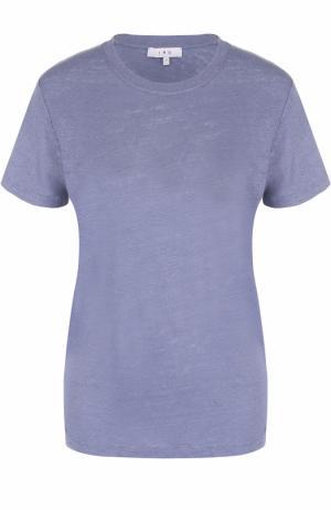 Льняная футболка прямого кроя с круглым вырезом Iro. Цвет: голубой