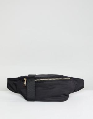 ASOS Нейлоновая сумка-кошелек на пояс в стиле oversize от DESIGN. Цвет: черный