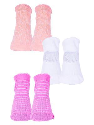 Носки, 3 пары Malerba. Цвет: оранжевый, белый, розовый