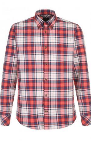 Хлопковая рубашка с воротником button down Bogner. Цвет: коралловый