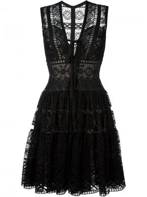 Расклешенное платье с вышивкой Elie Saab. Цвет: чёрный
