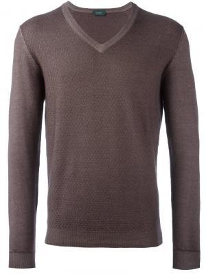 Пуловер с V-образным вырезом Zanone. Цвет: серый
