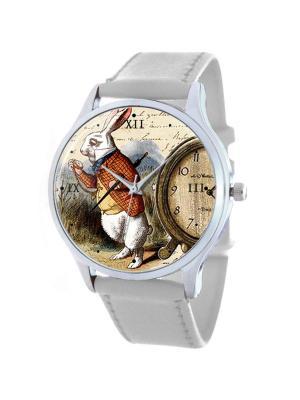 Дизайнерские часы Белый кролик Tina Bolotina. Цвет: бордовый, белый, светло-коричневый