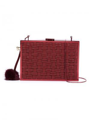 Плетеный клатч с помпоном Monique Lhuillier. Цвет: красный