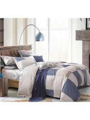 Комплект постельного белья 1,5сп 50х70 Jardin. Цвет: белый, синий, коричневый
