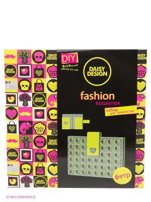 Набор шьем кошелечекСердца салатовый NEON Daisy Design. Цвет: черный