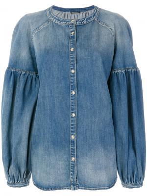 Блузка с широкими рукавами выцветшим эффектом Wandering. Цвет: синий