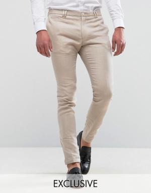 Noak Супероблегающие льняные брюки. Цвет: бежевый