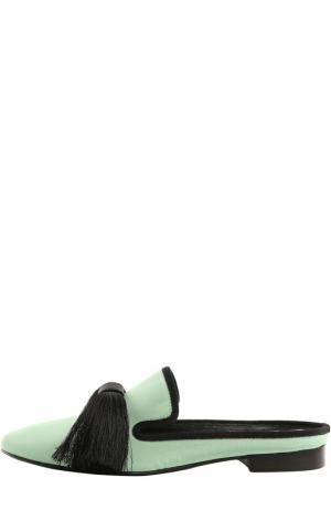Шелковые домашние туфли Maestro с кисточками Aleksandersiradekian. Цвет: зеленый
