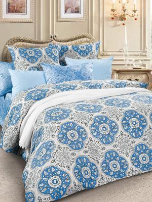 Комплект постельного белья, сатин, 1,5-спальный Letto. Цвет: голубой, белый