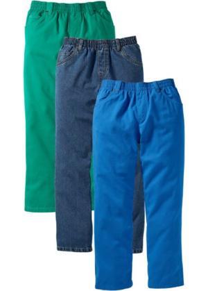 Джинсы в комплекте (3 шт.), Большие (лазурный + зеленая паприка синий «потертый») bonprix. Цвет: лазурный + зеленая паприка + синий «потертый»