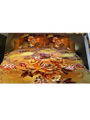 Комплект постельного белья Follow, евро La Pastel. Цвет: коричневый, оранжевый