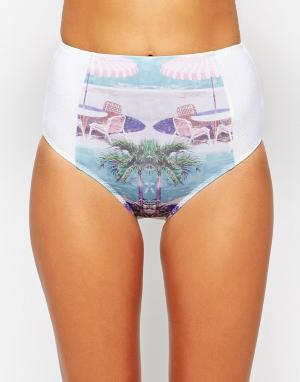 La Belle Rebelle Плавки бикини с завышенной талией LBR Poolside. Цвет: мульти