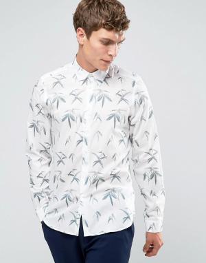 PS by Paul Smith Белая рубашка слим с принтом листья. Цвет: белый