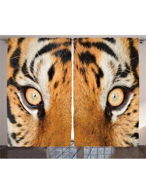 Плотные фотошторы Взгляд тигра, 290*265 см Magic Lady. Цвет: оранжевый, бежевый, черный