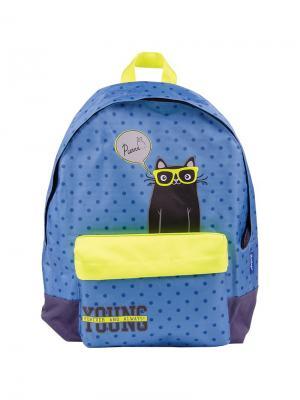 Рюкзак Nice Young 40*31*17см, 1 отделение, карман, уплотненная спинка Berlingo. Цвет: синий, желтый