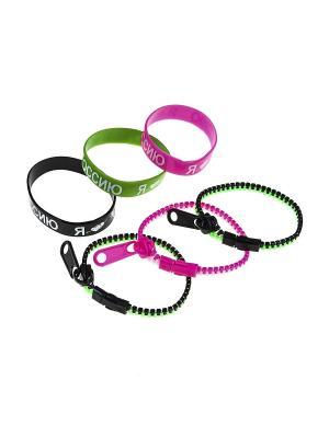 Комплект (Браслет - 6 шт.) Happy Charms Family. Цвет: зеленый, розовый, черный