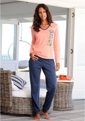 Пижама, 2 штуки VIVANCE. Цвет: экрю/серый меланжевый+коралловый/темно-синий