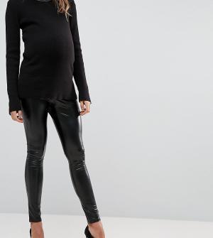 Bandia Леггинсы с мокрым эффектом и посадкой над животом Maternity. Цвет: черный