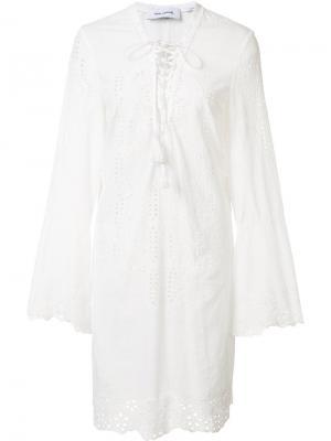 Платье с вышивкой Yigal Azrouel. Цвет: белый