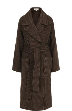 Пальто из смеси шерсти и кашемира с поясом Isa Arfen. Цвет: коричневый