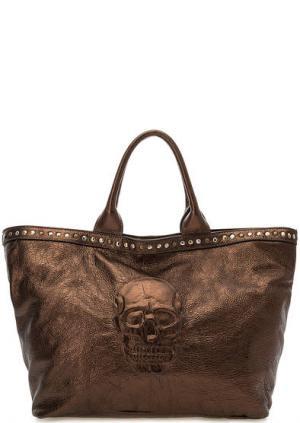 Вместительная сумка в форме трапеции Io Pelle. Цвет: золотистый