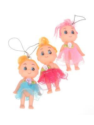 Брелок - подвеска Куколка с цветком на поясе, розово-синий, набор  шт Радужки. Цвет: зеленый, красный