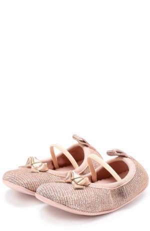 Текстильные пинетки с металлизированным декором Pretty Ballerinas. Цвет: золотой