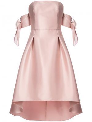 Атласное платье с открытыми плечами Vani Sachin & Babi. Цвет: розовый и фиолетовый