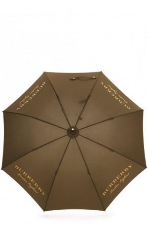 Зонт-трость с логотипом бренда Burberry. Цвет: оливковый