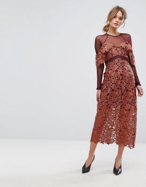 Three Floor Платье миди из кружева кроше с сетчатыми рукавами. Цвет: оранжевый