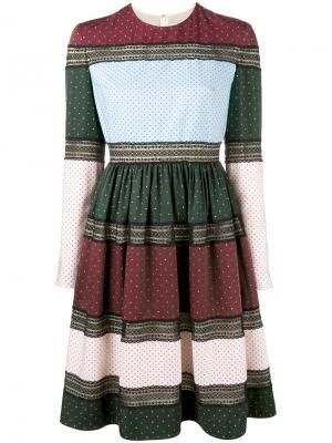 Платье с расклешенной юбкой и узорами Huishan Zhang. Цвет: многоцветный
