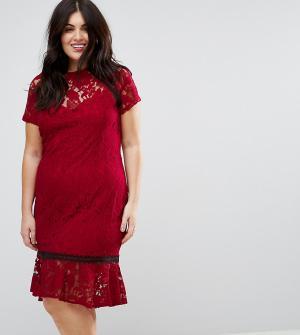 Paper Dolls Plus Кружевное платье с короткими рукавами и отделкой кроше Plu. Цвет: красный