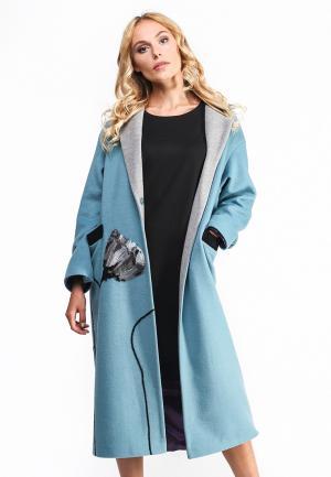 Пальто Yukostyle. Цвет: голубой