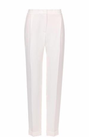 Шелковые брюки прямого кроя с защипами и эластичным поясом Loro Piana. Цвет: белый