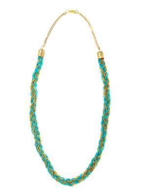Колье Плетение Бирюза BD0044 Indira. Цвет: голубой