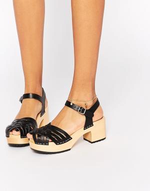 Swedish Hasbeens Черные кожаные сандалии на платформе Marina. Цвет: черный