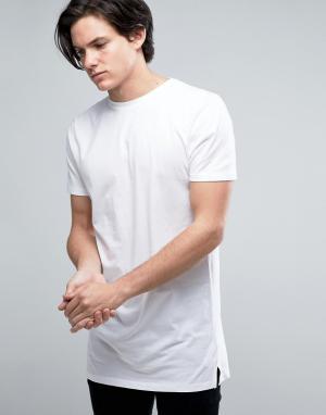 New Look Длинная белая футболка. Цвет: белый