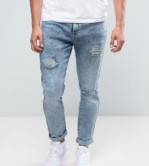 Brooklyn Supply Co. Голубые джинсы скинни с рваной отделкой Co. Цвет: синий