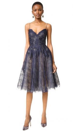 Платье с нарядным лифом Monique Lhuillier. Цвет: ночное небо