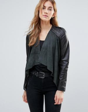 Muubaa Кожаная куртка. Цвет: серый
