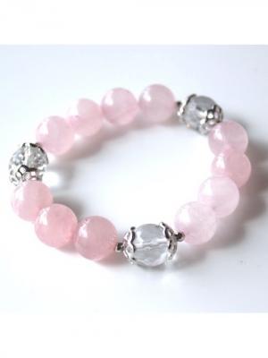 Браслет из розового кварца, с горным хрусталем Магазин браслетов. Цвет: сиреневый, бежевый, белый, бледно-розовый, кремовый, лиловый, молочный, прозрачный, розовый, светло-бежевый, светло-коралловый, светло-серый, темно-бежевый, фиолетовый, фуксия