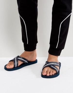 Versace Jeans Шлепанцы с перекрестными ремешками и логотипом. Цвет: темно-синий