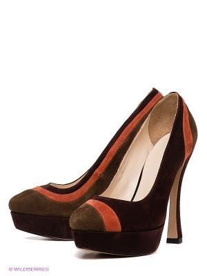 Туфли Calipso. Цвет: темно-коричневый, темно-зеленый