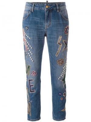 Декорированные укороченные джинсы Amen. Цвет: синий