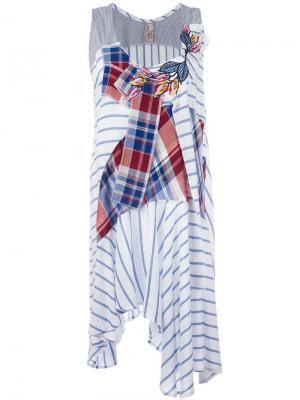 Полосатое платье в стиле пэчворк Antonio Marras. Цвет: белый