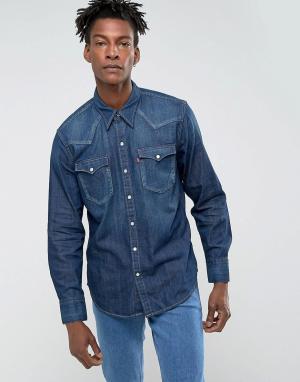 Levis Темная выбеленна джинсовая рубашка в стиле вестерн Barstow. Цвет: темно-синий